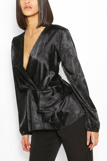 Black Jacquard Satin Peplum Detail Blouse