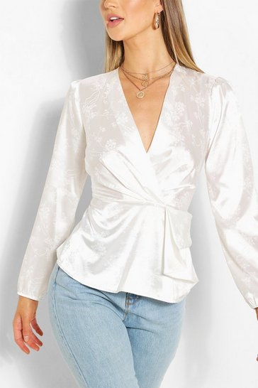 White Jacquard Satin Peplum Detail Blouse