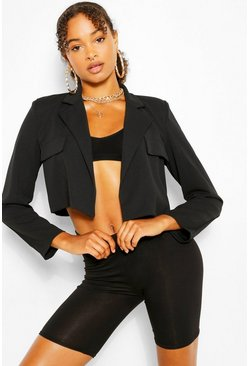 Black Pocket Tailored Crop Blazer