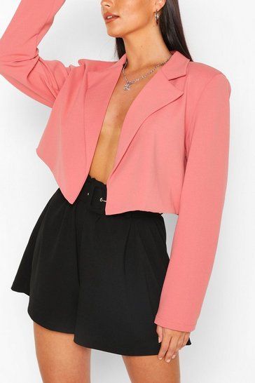 Apricot Tailored Crop Blazer