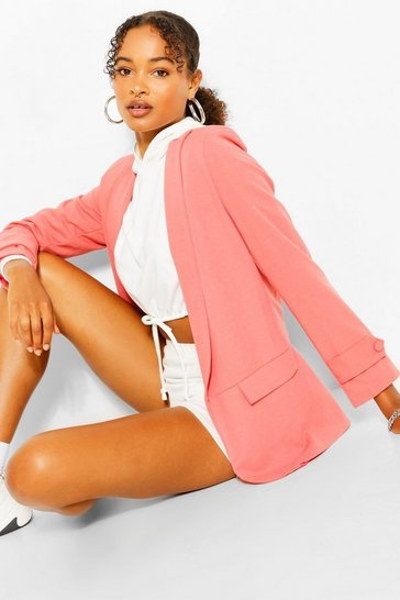 Candy pink Button Cuff Tailored Blazer