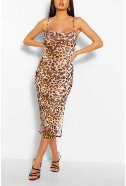 Leopard Mesh Slip Dress