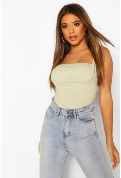 Ribbed Bust Bodysuit, Mint