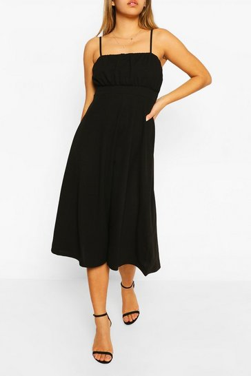 Black Strappy Ruched Bust Midi Skater Dress
