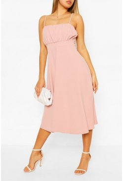 Blush Strappy Ruched Bust Midi Skater Dress