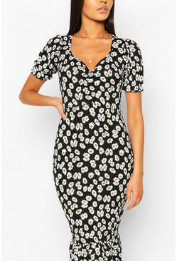 Daisy Print Ruched Frill Hem Midi Dress, Black