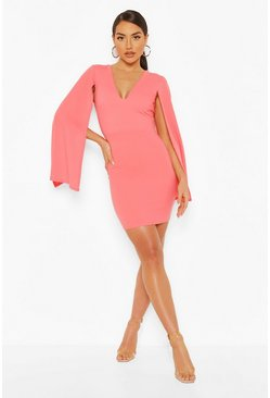 Coral Plunge Cape Sleeve Mini Bodycon Dress