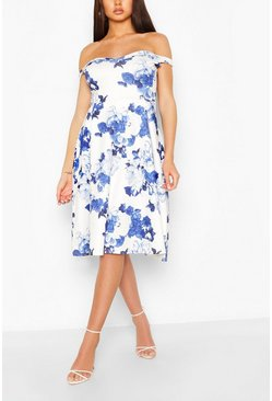 White Floral Off Shoulder Midi Skater Dress