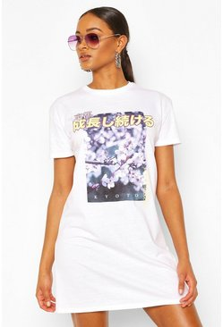 White Floral Photograph Print T-shirt Dress