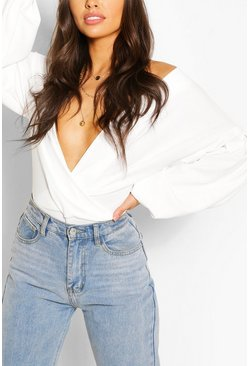 Ivory Crepe Off Shoulder Wrap Bodysuit