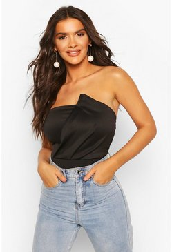 Black Bandeau Wrap Detail Bodysuit