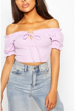 Lilac Bandage Peasant Crop Top