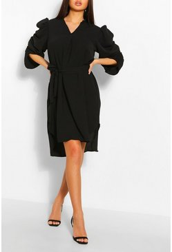 Black Puff Sleeve Belted Shift Dress