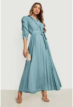 Mint Puff Sleeve Pleated Skirt Midi Dress