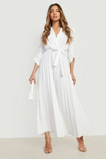 White Puff Sleeve Pleated Skirt Midi Dress
