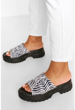 Zebra Print Chunky Sandals, Black