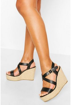 Multi Strap Espadrille Wedges, Black
