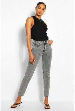 Grey High Rise Classic Mom Jeans