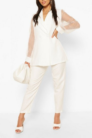 White Organza Sleeve Tailored Blazer