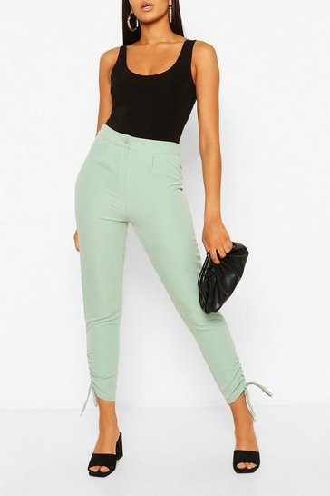 Sage Ruched Cuff Tailored Trouser