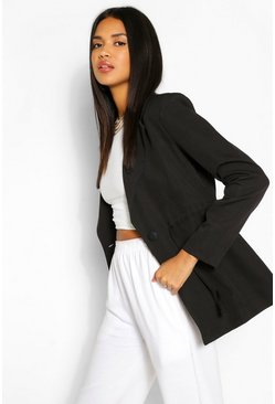 Black Ruched Waist Button Blazer