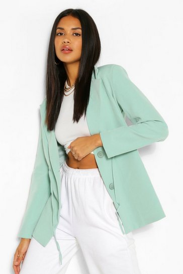 Sage Ruched Waist Button Blazer