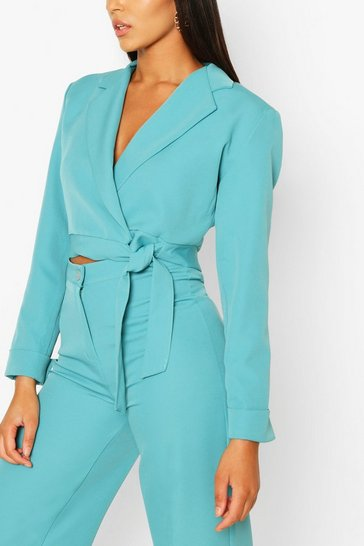 Turquoise Button Cuff Wrap Crop Blazer