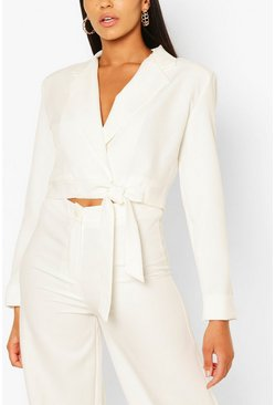 White Button Cuff Wrap Crop Blazer