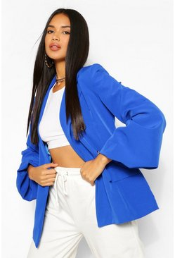 Cobalt Extreme Puff Sleeve Double Breasted Blazer