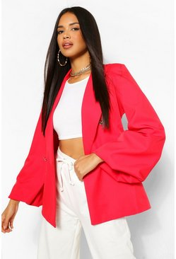 Red Extreme Puff Sleeve Double Breasted Blazer