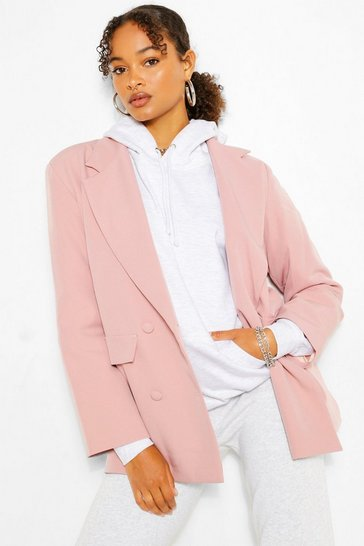Candy pink Boxy Oversized Double Breasted Blazer