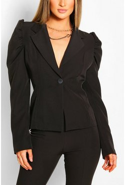 Black Puff Sleeve Button Blazer