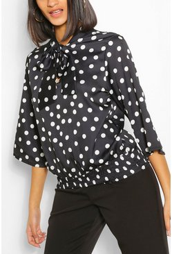 Black Satin Polka Dot Pussybow Blouse