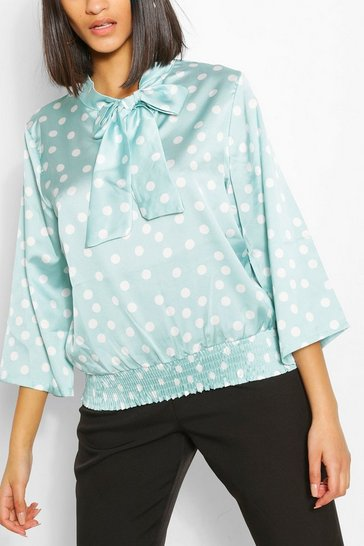 Mint Satin Polka Dot Pussybow Blouse