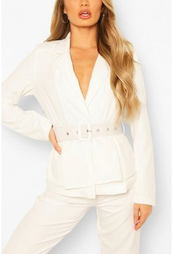 White Self Belt Peplum Blazer