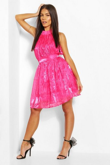 Pink Polka Dot High Neck Chiffon Skater Dress