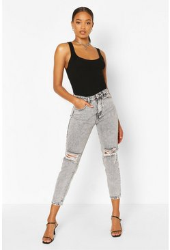 Grey High Rise Distressed Mom Jean