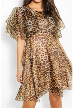 Brown Leopard Organza Ruffle Skater Dress