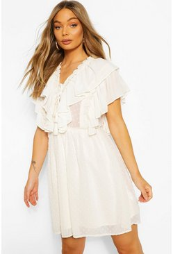 Cream Dobby Lace Detail Extreme Ruffle Skater Dress