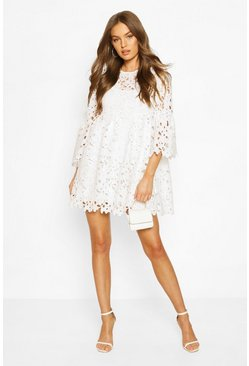 White Heavy Lace Flare Sleeve Smock Dress