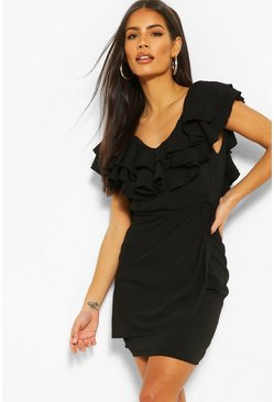 Black Woven Ruffle Detail Mini Dress