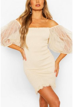 Beige Shirred Frill Hem Extreme Mesh Mini Dress