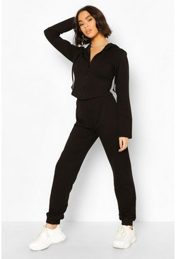 Black Fitted Zip Through Tracksuit