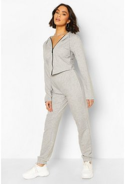 Grey marl Fitted Zip Through Tracksuit