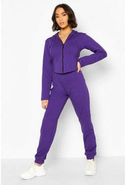 Fitted Zip Through Tracksuit , Purple