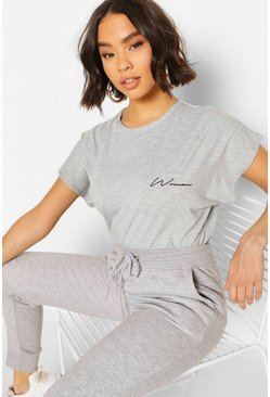 Grey marl Woman Pocket Print T-Shirt