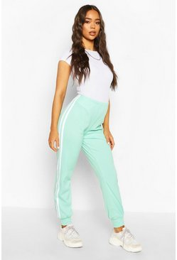 Mint Sports Stripe Ribbed Jogger