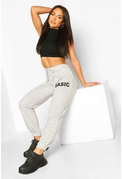 Grey 'Basic Slogan Jogger