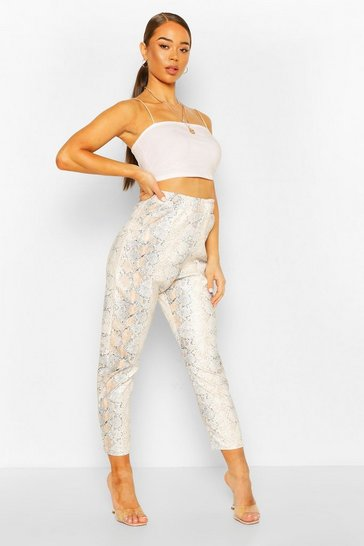 Ivory Leather Look Faux Snake Slim Fit Trouser