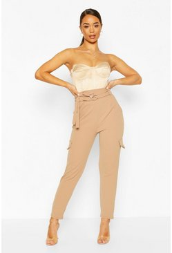 Camel Double Belted Cargo Pants